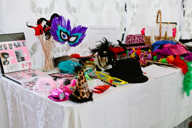 photo booth props table at bridal show in dallas