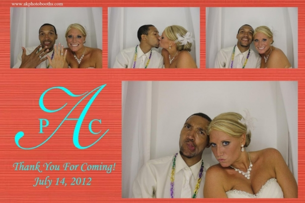 Brida and groom posing in photo booth