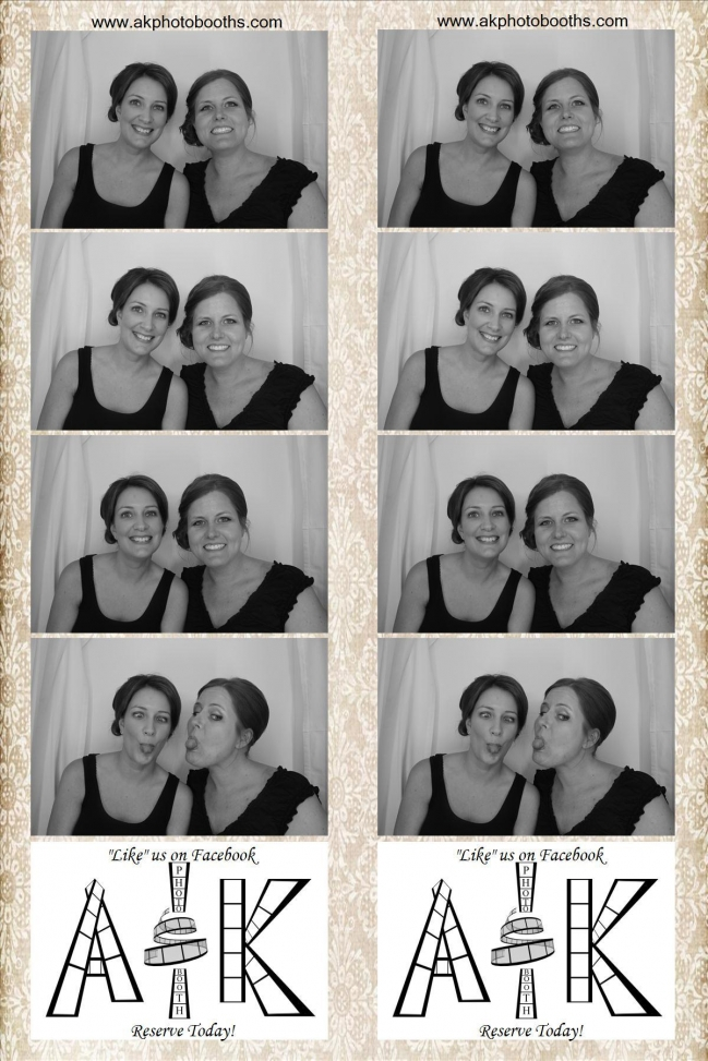 Friends taking photo booth pictures at bridal show