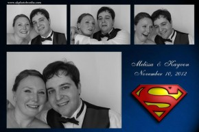 bride and groom superhero themed wedding at ashton depot photo booth pictures