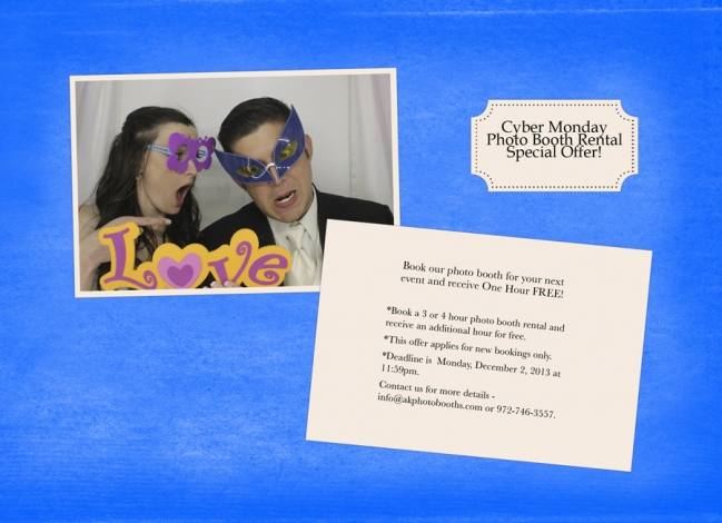 Cyber Monday photo booth rental specials for weddings and events in Dallas and Fort Worth, Texas.