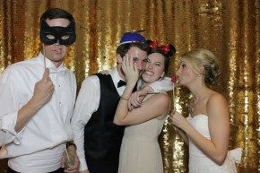 dallas open photo booth rental at arlington hall wedding with gold backdrop