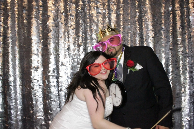 wedding open photo booth with silver backdrop in dallas