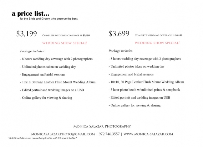 Wedding photography and photo booth rental combo package offer at bridal shows in Dallas and Fort Worth, TX.